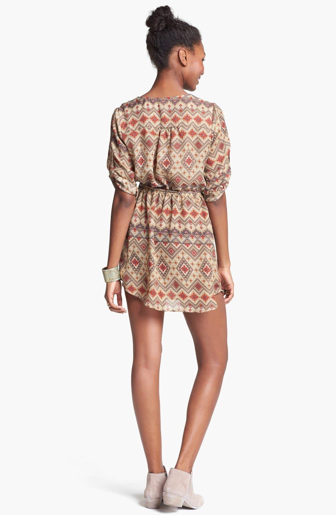 Alternate Image 2  - Mimi Chica Print Shirtdress (Juniors) (Online Only)