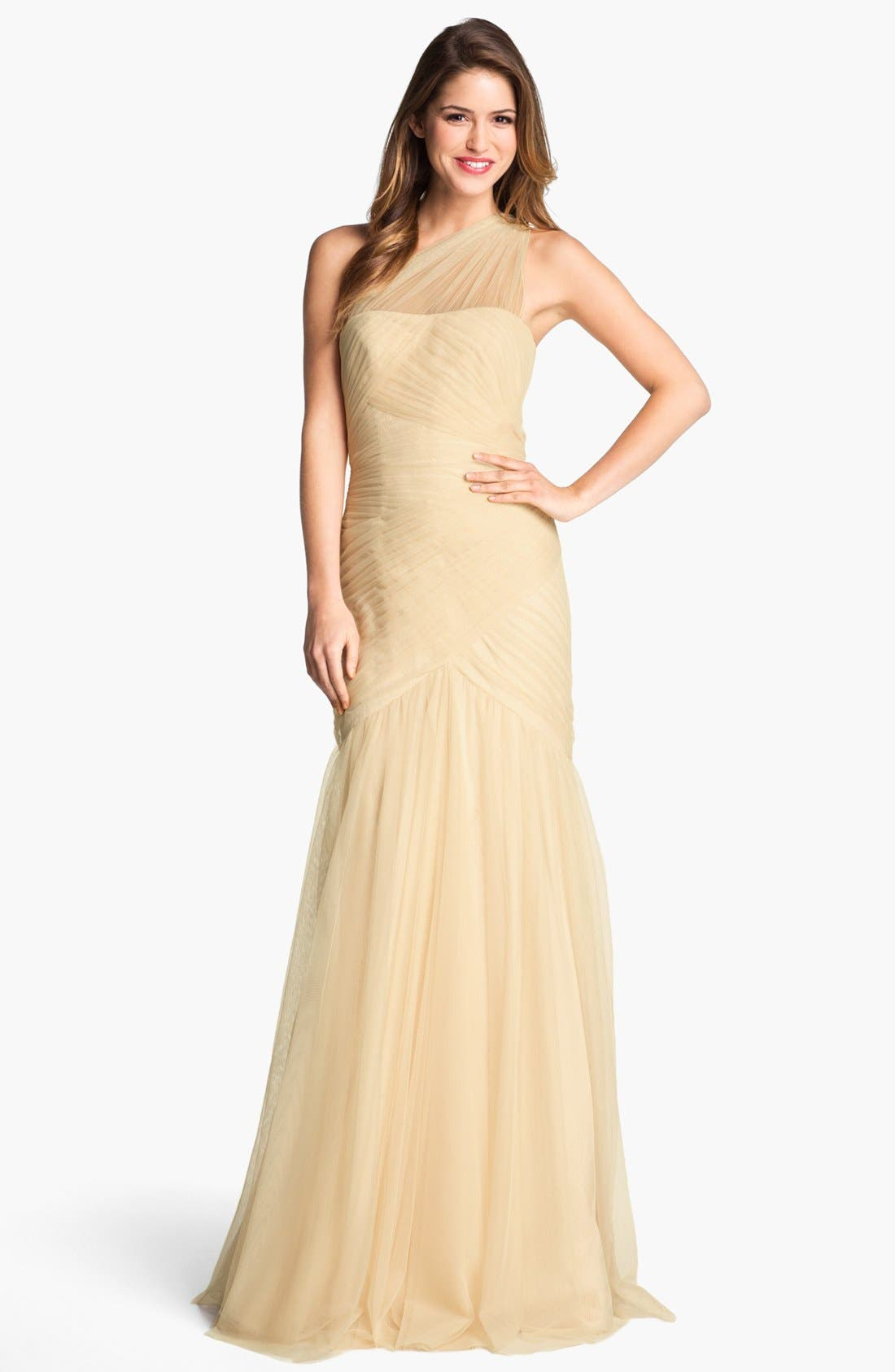 Alternate Image 1 Selected - ML Monique Lhuillier One Shoulder Tulle Trumpet Gown (Nordstrom Exclusive)