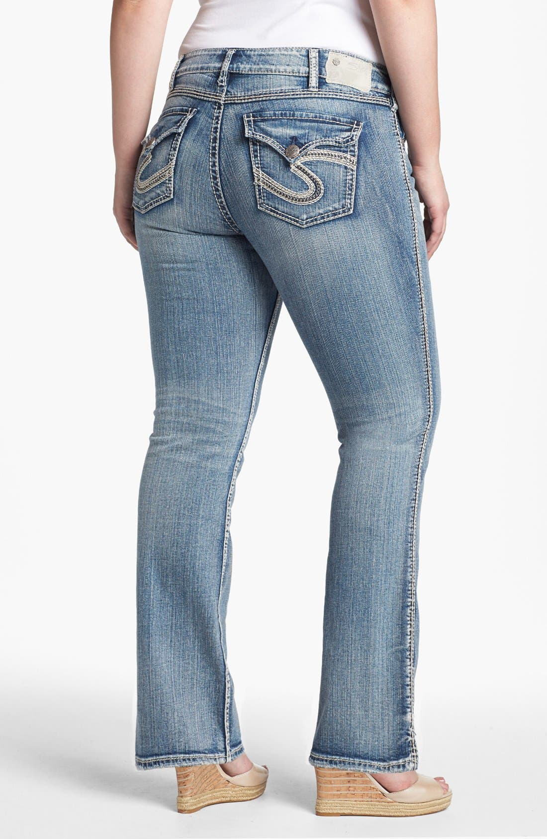 Alternate Image 2  - Silver Jeans Co. 'McKenzie' Faded Bootcut Jeans (Juniors Plus)