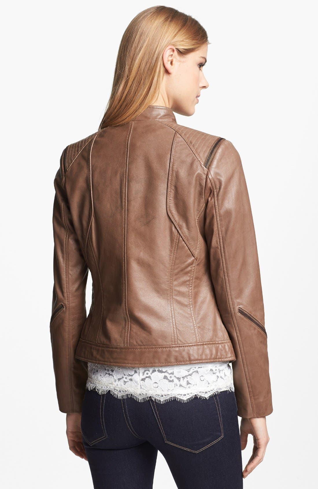 Alternate Image 2  - Bernardo Zip Trim Leather Scuba Jacket (Regular & Petite)