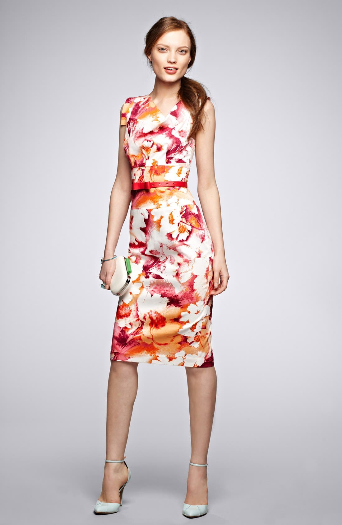 Alternate Image 6  - Black Halo Tab Sleeve Print Sheath Dress