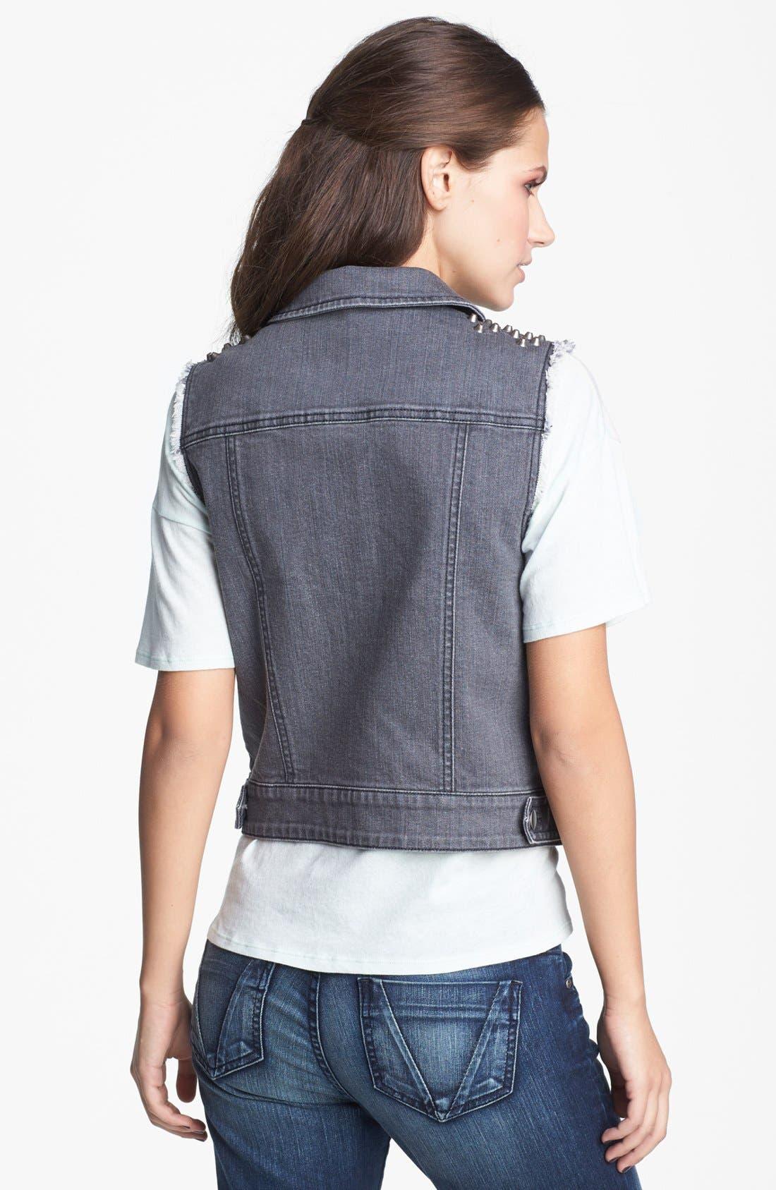 Alternate Image 2  - BP. Studded Denim Vest (Juniors)