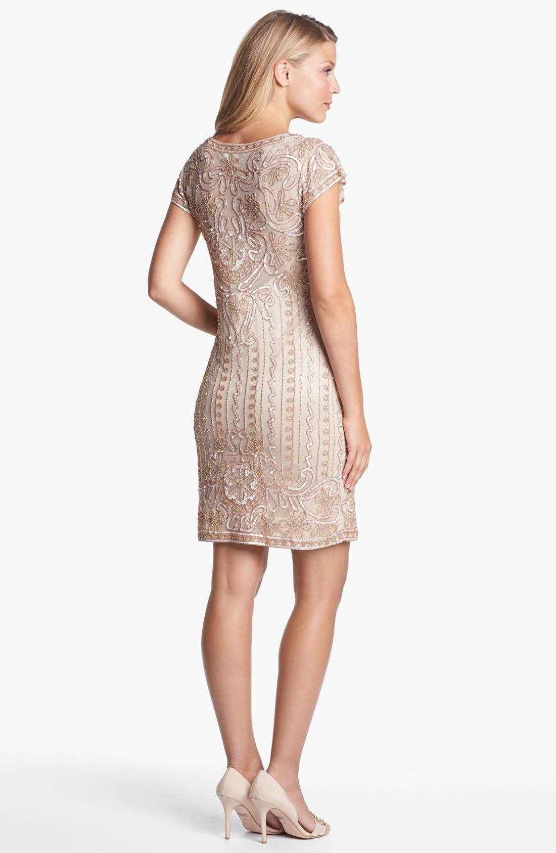 Alternate Image 2  - J Kara Embellished Mesh Sheath Dress (Petite)