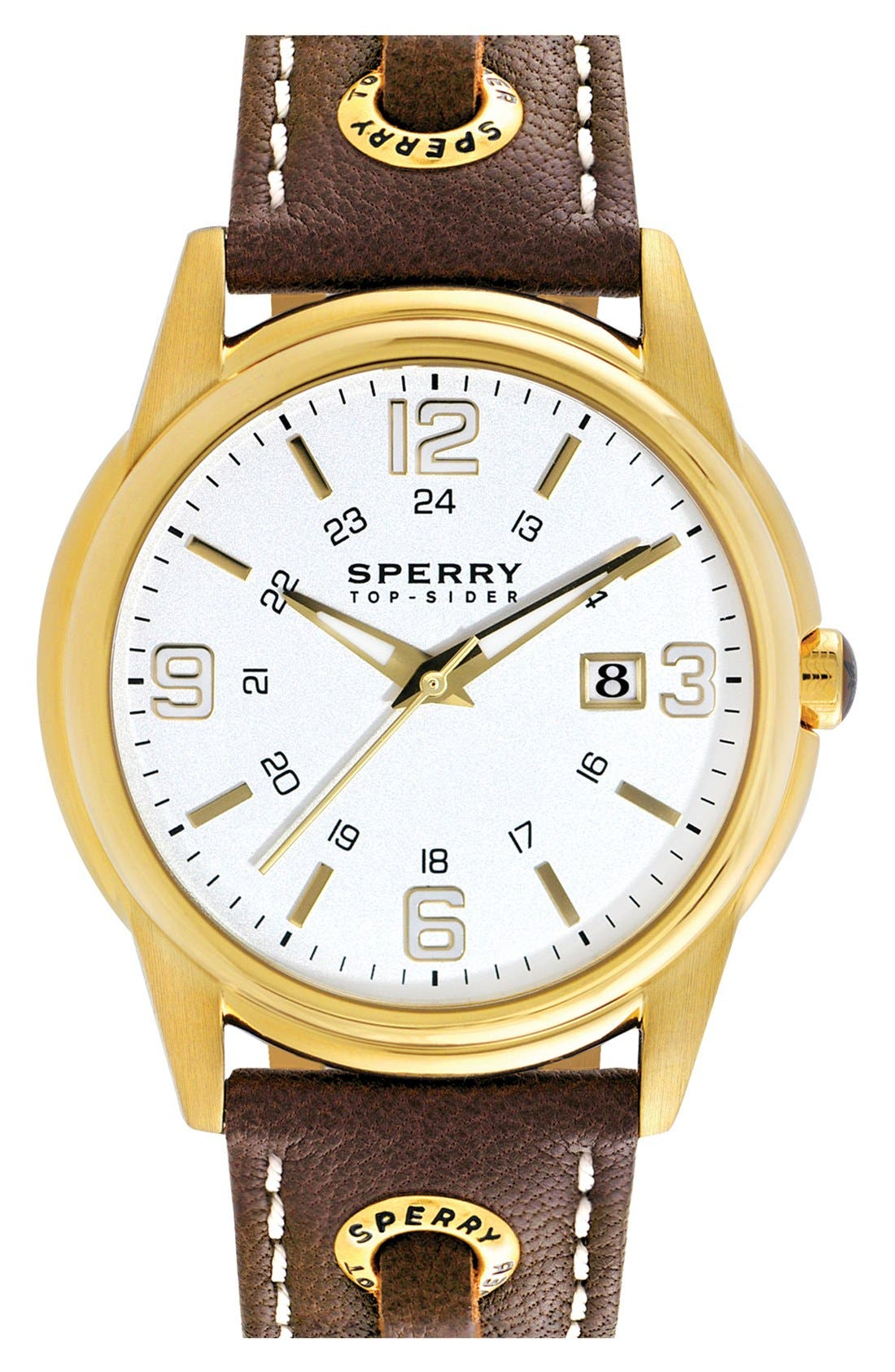 'Preston' Round Leather Strap Watch, 42mm,                         Main,                         color, Brown/ Gold