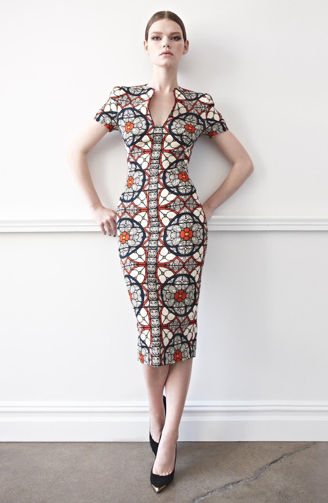 Alternate Image 4  - Alexander McQueen Stained Glass Print Wool Crepe Dress