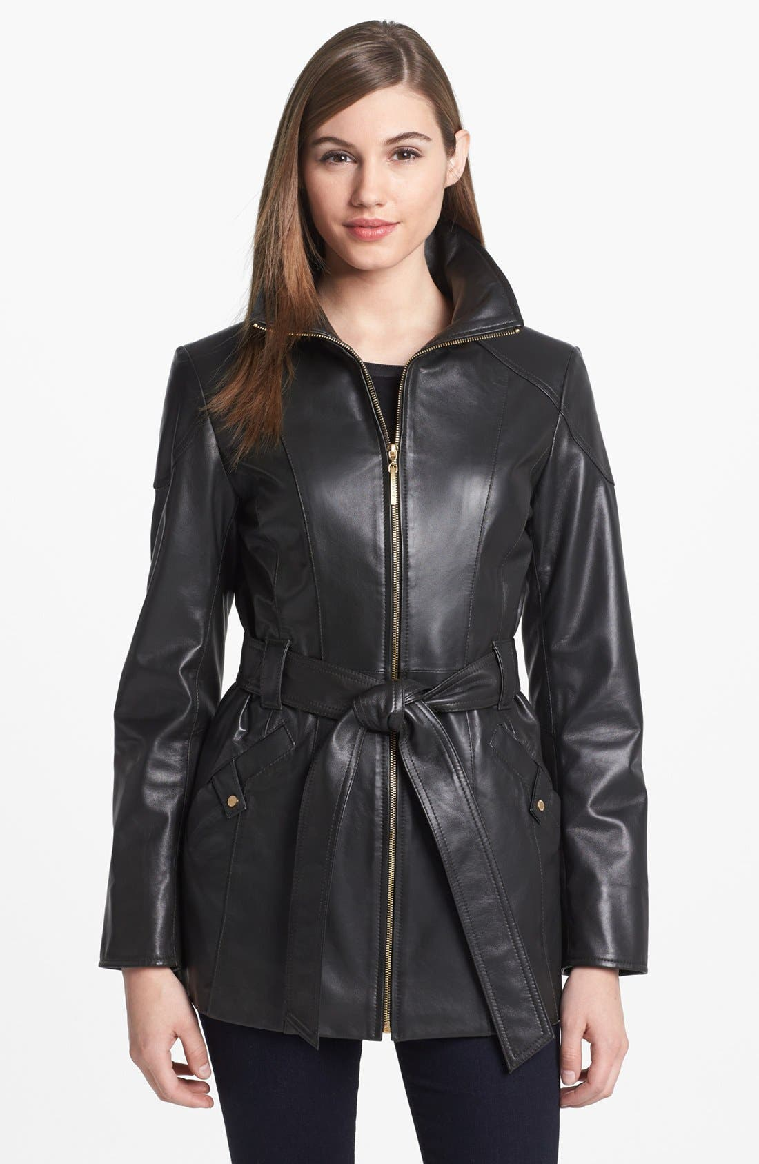 Main Image - Ellen Tracy Belted Leather Jacket (Nordstrom Exclusive)