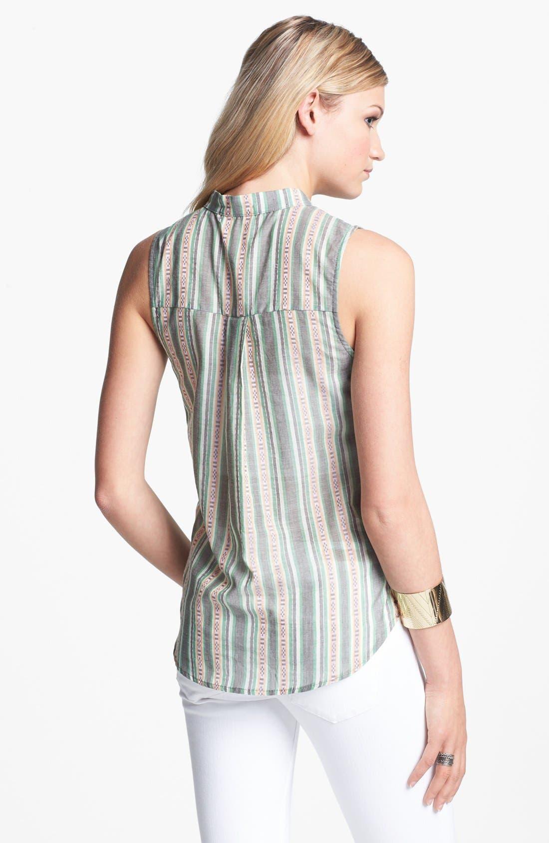 Alternate Image 2  - Lily White Print Sleeveless Henley Shirt (Juniors)