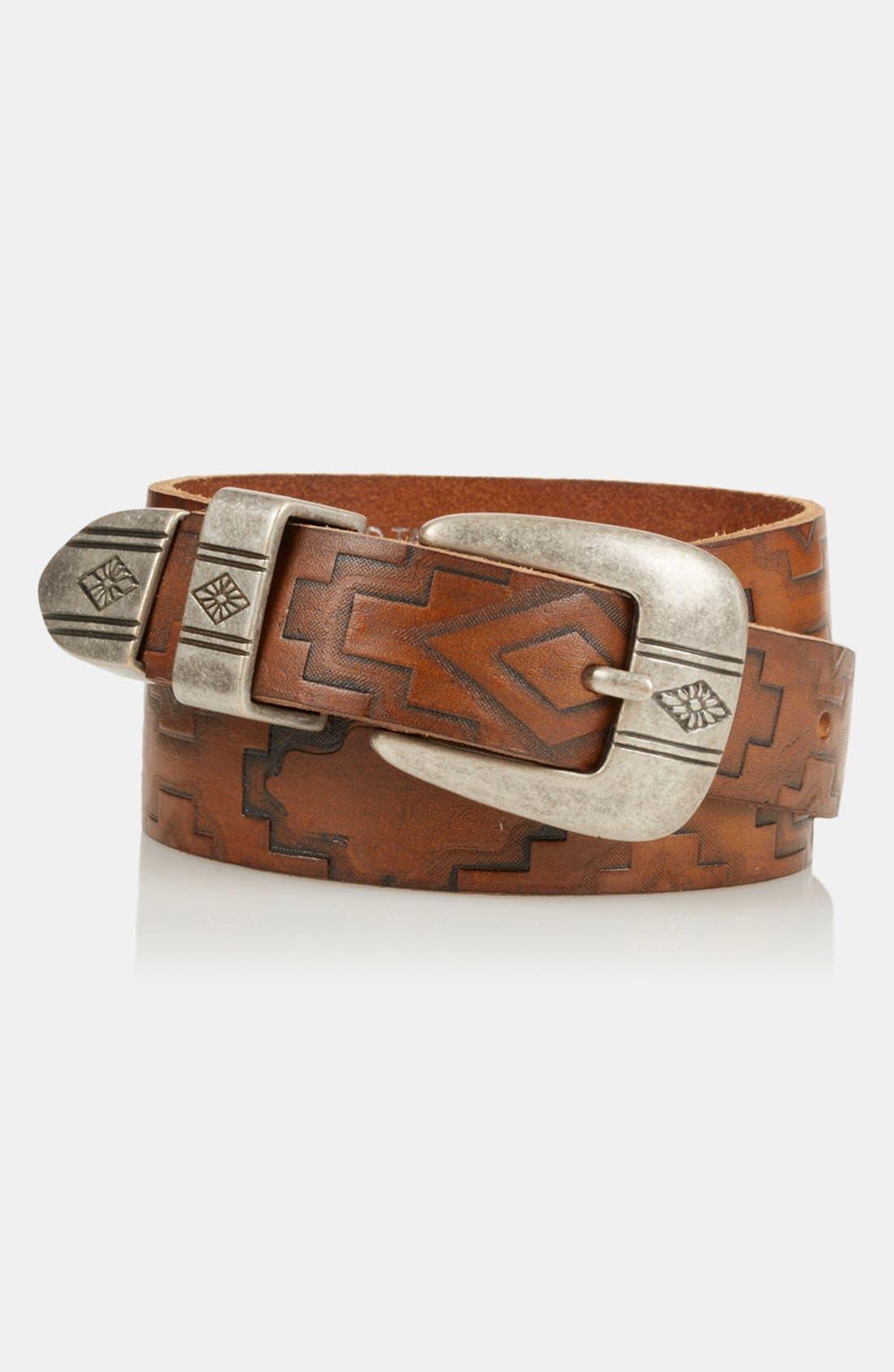 Alternate Image 3  - Topshop 'Aztec' Embossed Leather Belt