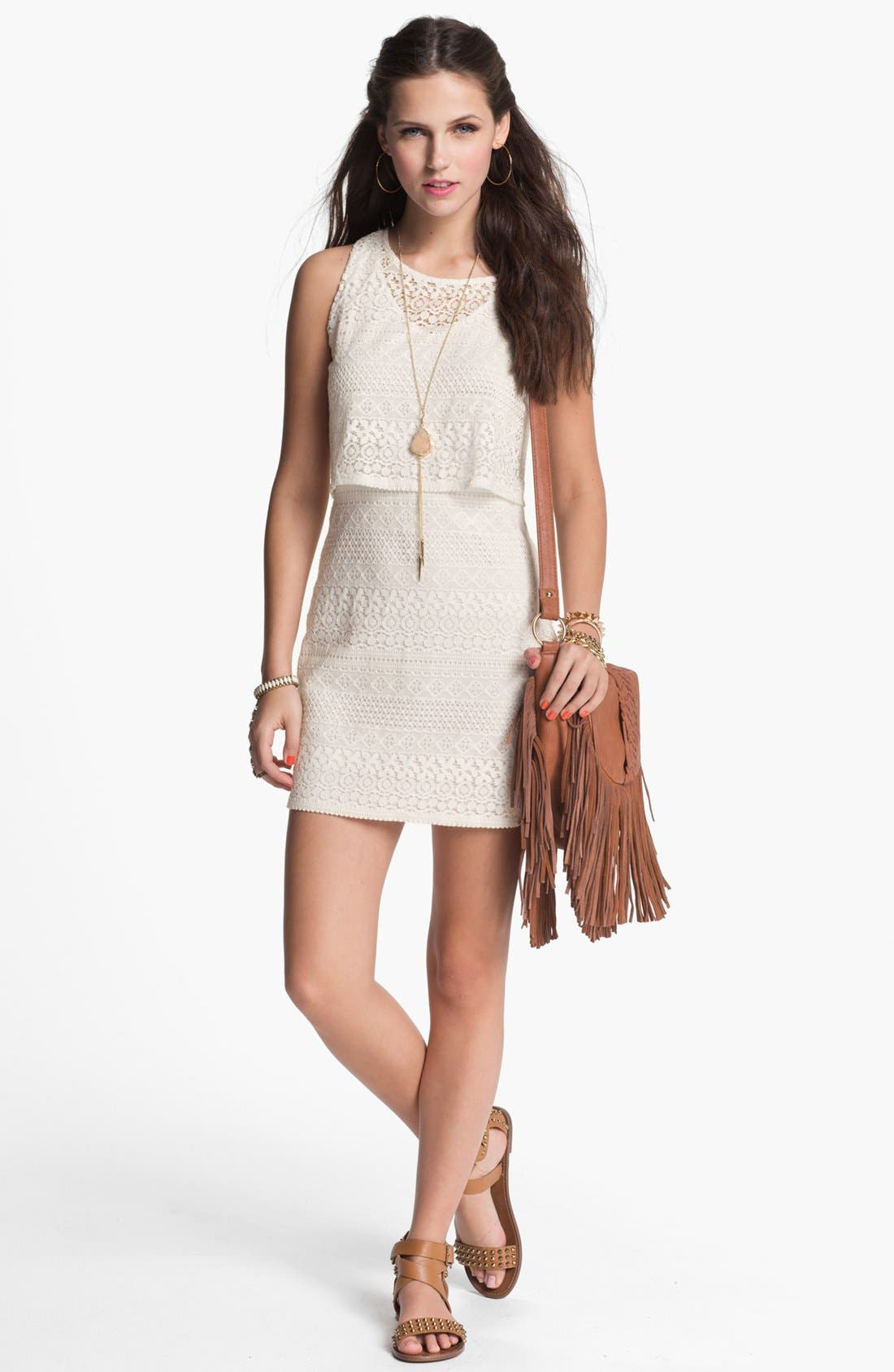 Main Image - dee elle Crochet Body-Con Dress (Juniors)