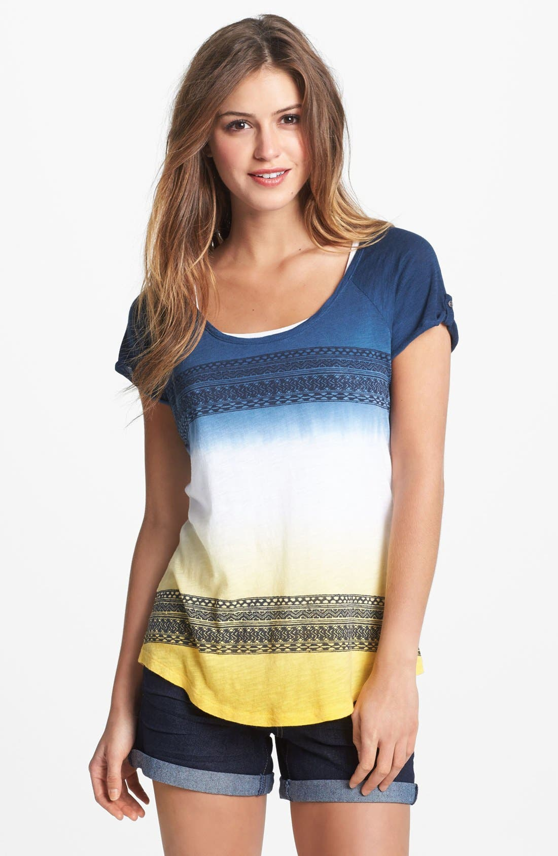 Alternate Image 1 Selected - Lucky Brand 'Relaxed Americana' Dip Dye Tee