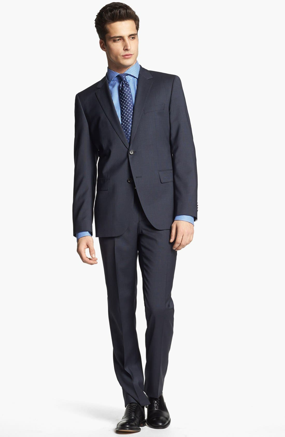 Alternate Image 1 Selected - BOSS HUGO BOSS 'James/Sharp' Trim Fit Check Suit