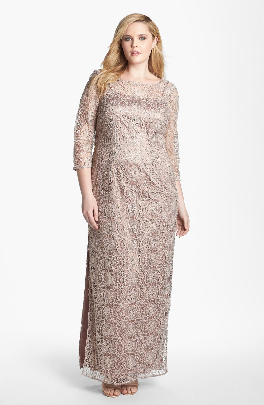 Main Image - Adrianna Papell Floral Lace Column Gown (Plus Size)