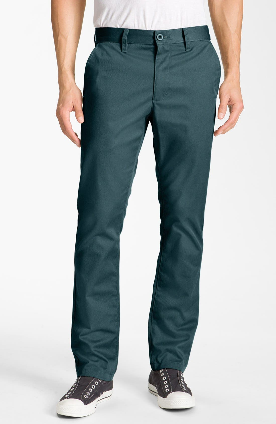 Alternate Image 1 Selected - RVCA Straight Leg Chinos (Online Only)