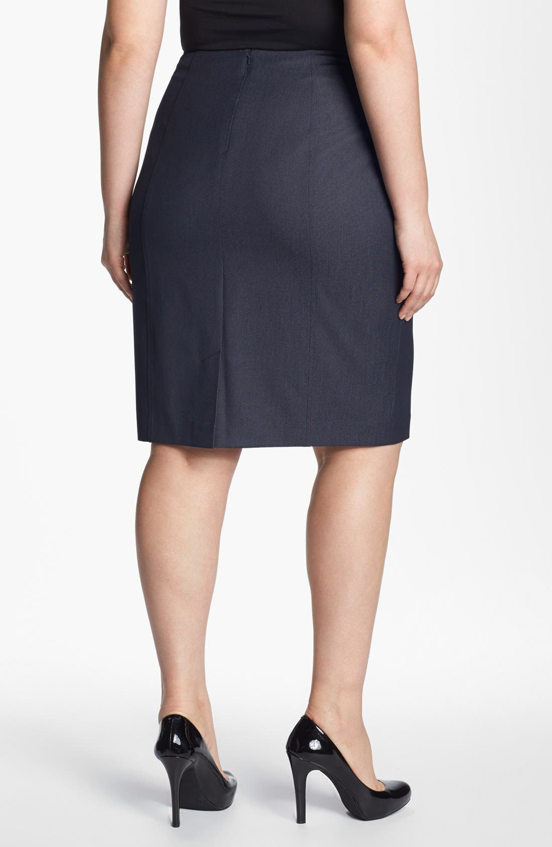 Alternate Image 2  - Sejour Seamed Suit Skirt (Plus Size)