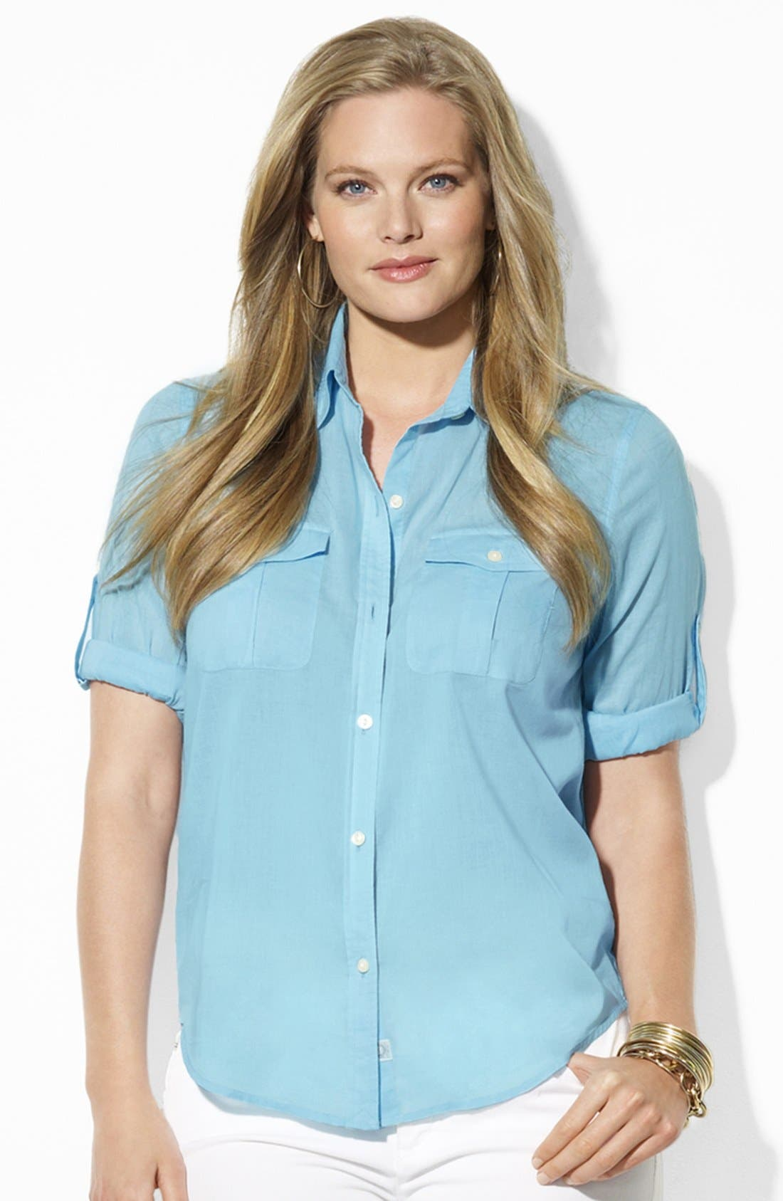 Alternate Image 1 Selected - Lauren Ralph Lauren Cotton Work Shirt (Plus Size)