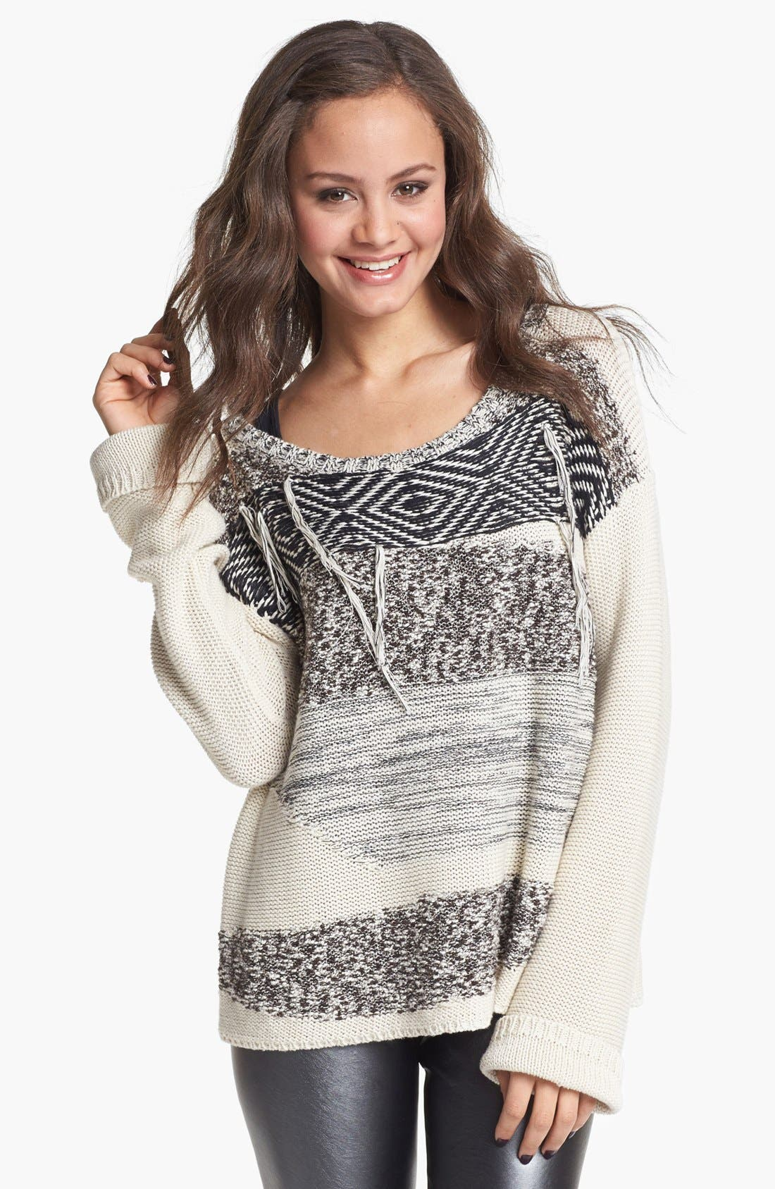 Alternate Image 1 Selected - Rubbish® Fringe Pattern Sweater (Juniors)