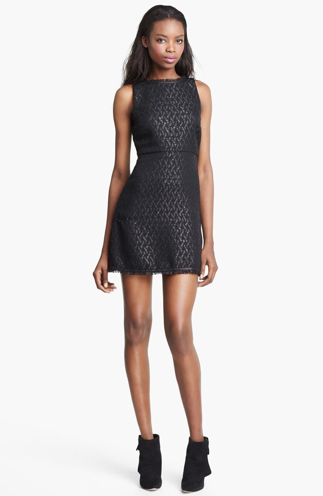 Main Image - Alice + Olivia 'Sardo' Leather Detail Dress