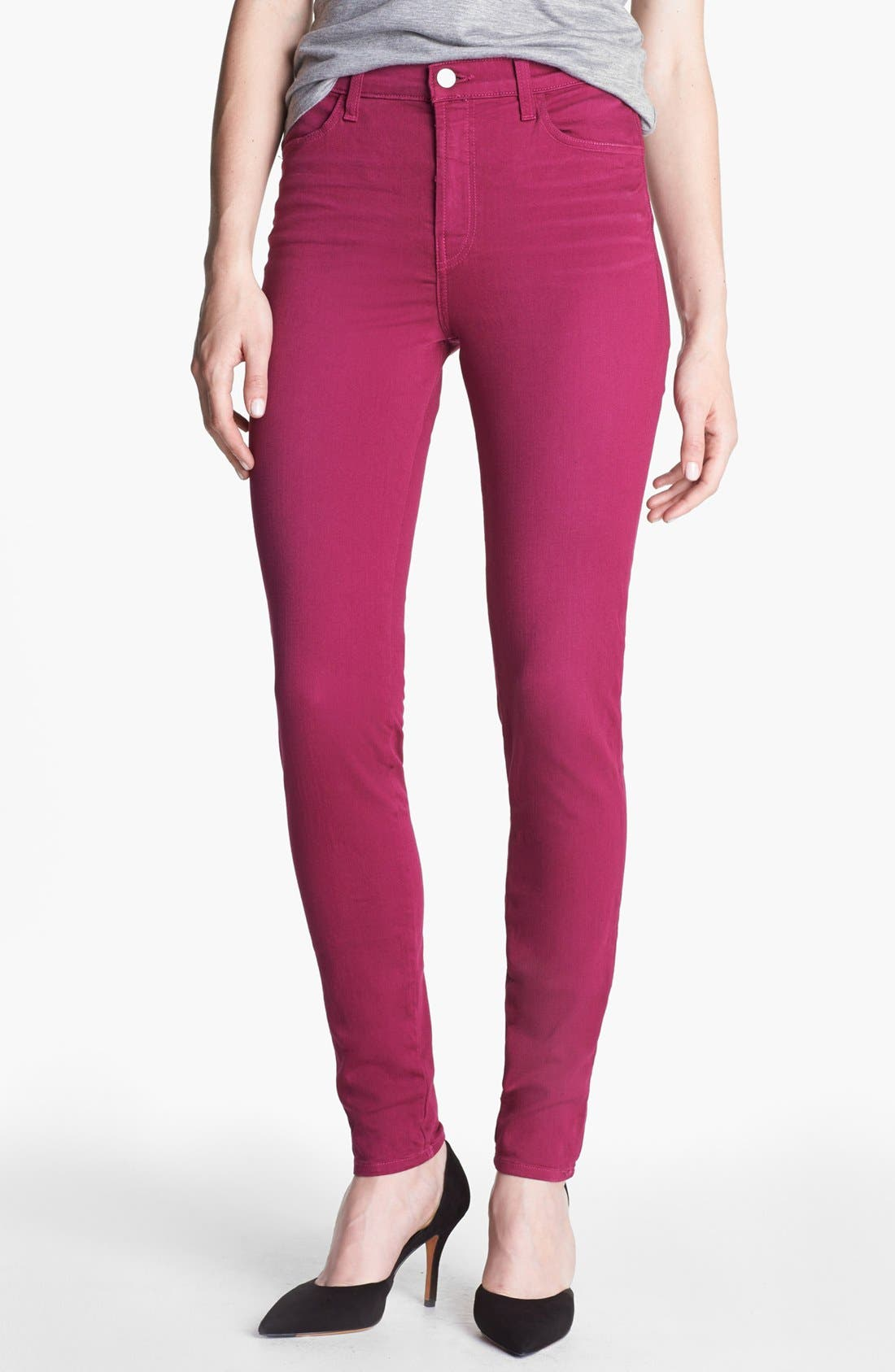Alternate Image 1 Selected - J Brand 'Maria' High Waist Skinny Stretch Jeans (Washed Loganberry)