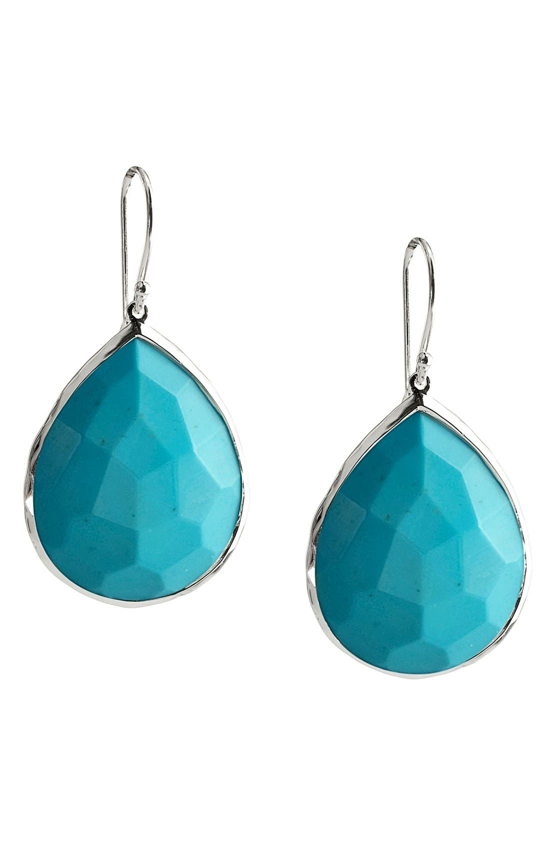 Rock Candy Large Teardrop Earrings,                             Main thumbnail 1, color,                             Silver/ Turquoise