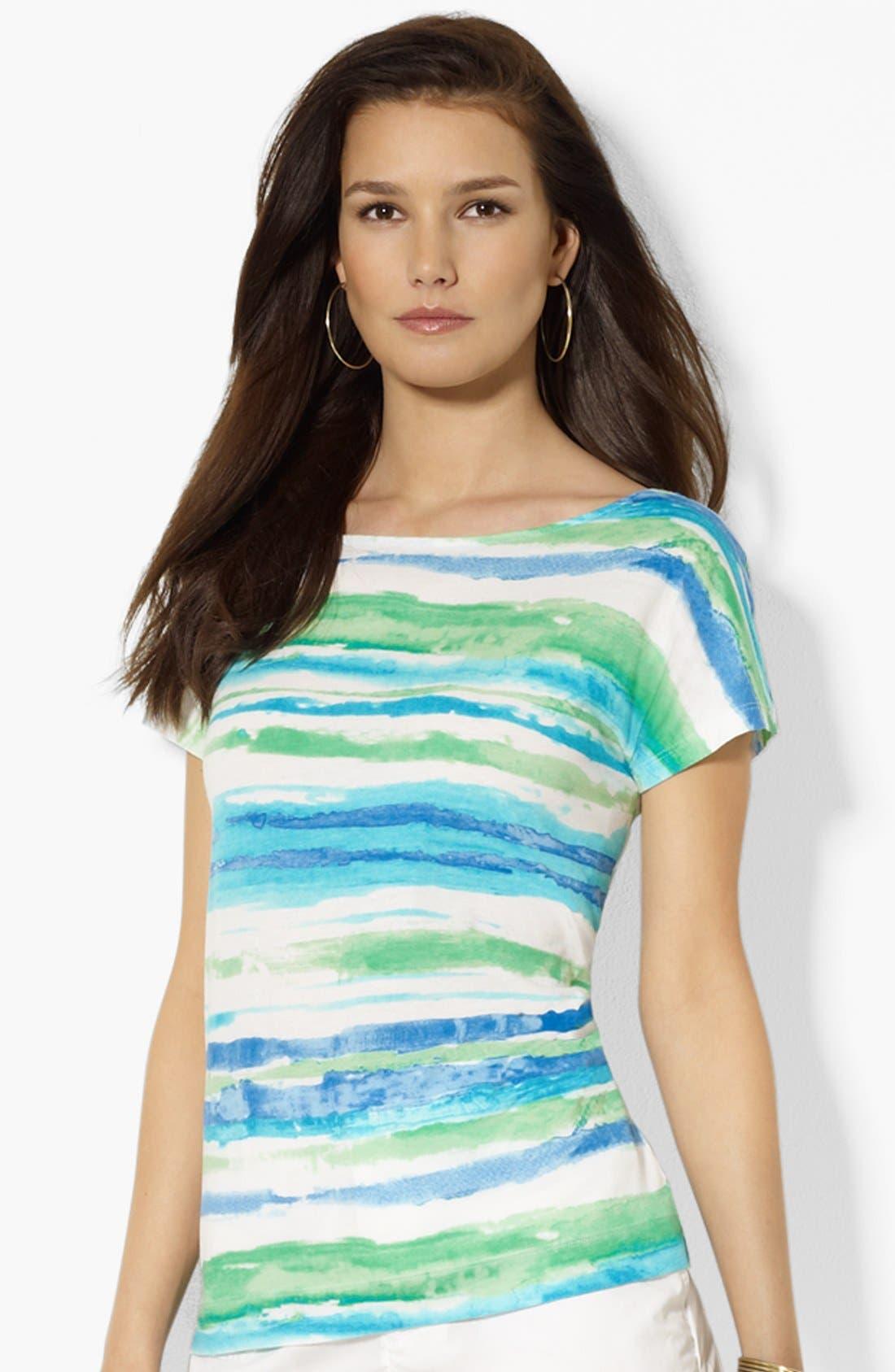 Main Image - Lauren Ralph Lauren Dolman Sleeve Stripe Top