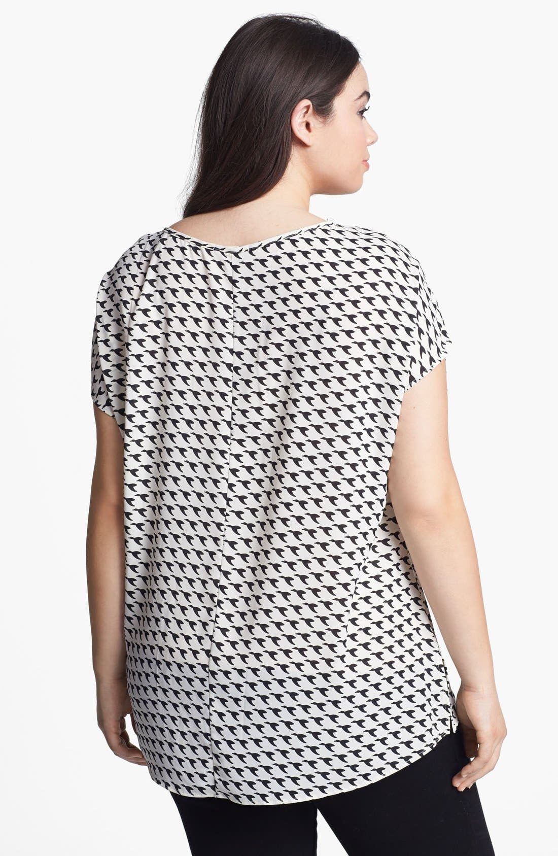 Alternate Image 2  - Pleione Scoop Neck Woven Tee (Plus Size)