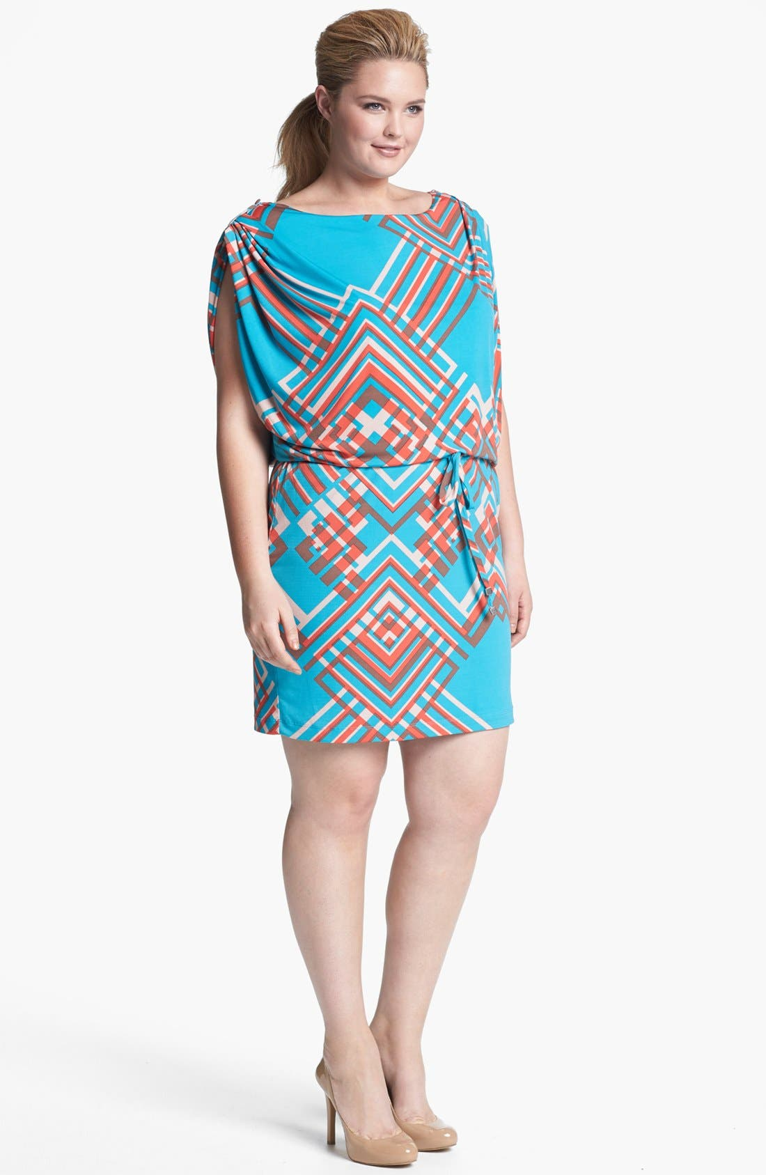 Main Image - Jessica Simpson Print Jersey Blouson Dress (Plus Size)