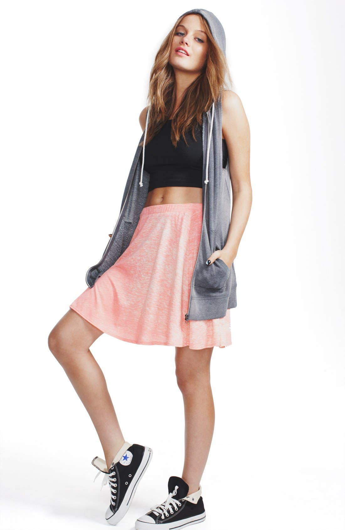 Alternate Image 2  - h.i.p. Slub Knit Circle Skirt (Juniors)