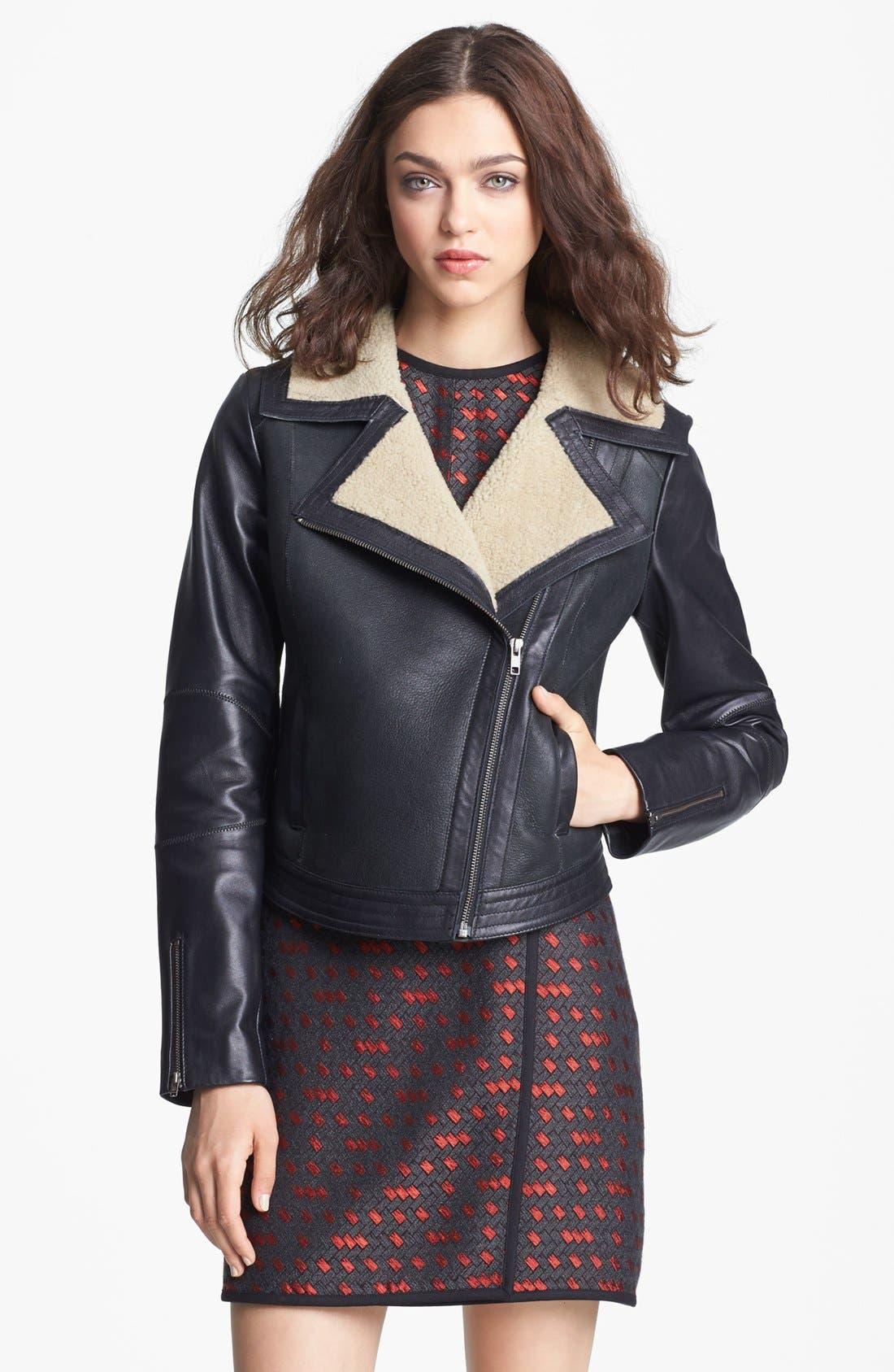 Alternate Image 4  - Miss Wu Genuine Shearling Moto Jacket (Nordstrom Exclusive)