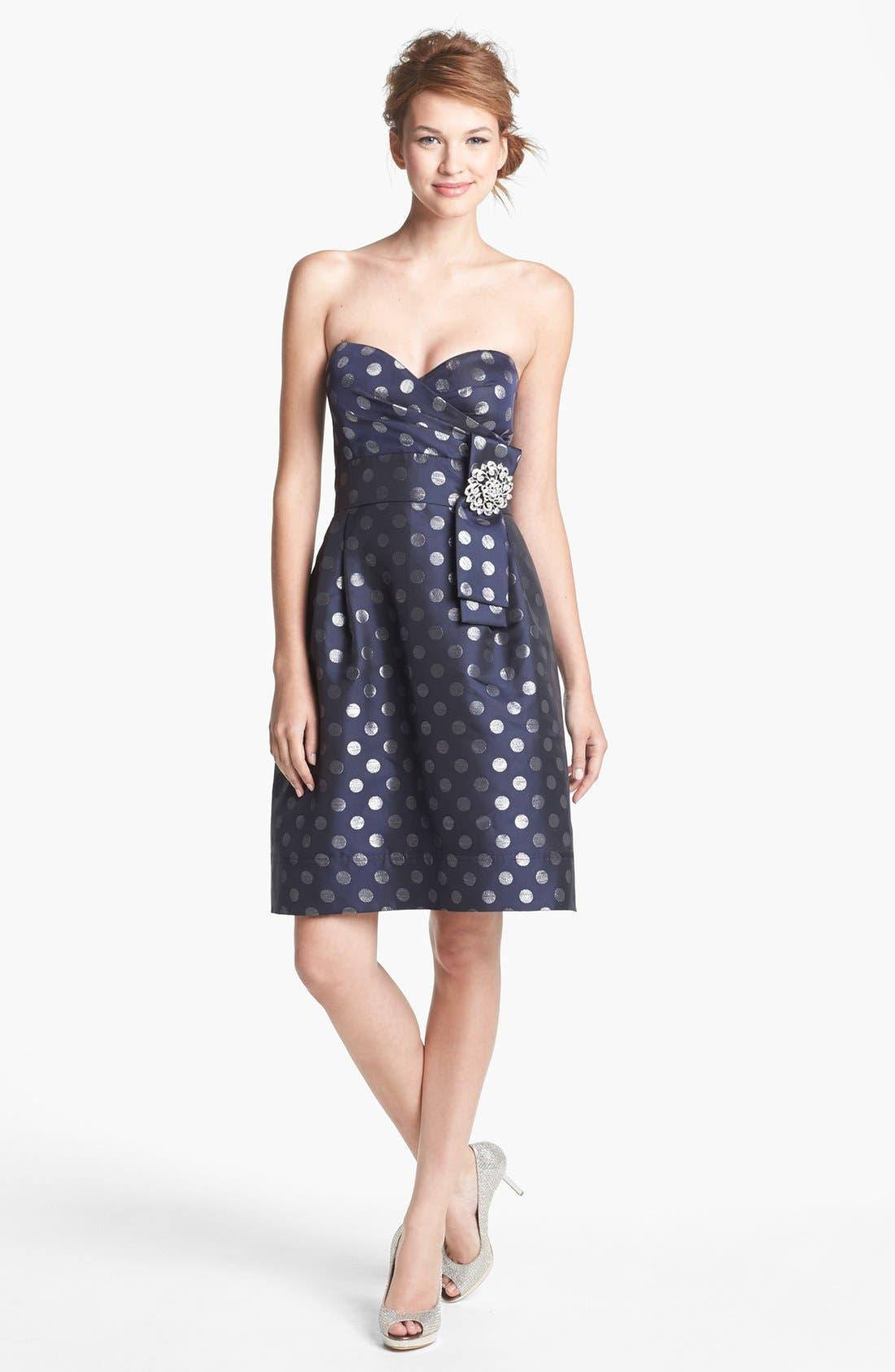 Embellished Strapless Metallic Satin Dress,                         Main,                         color, Navy