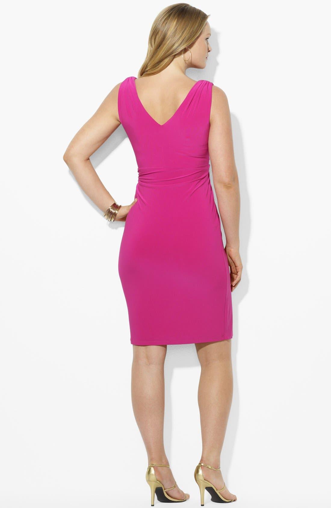 Alternate Image 2  - Lauren Ralph Lauren Shirred Matte Jersey Dress (Plus Size)