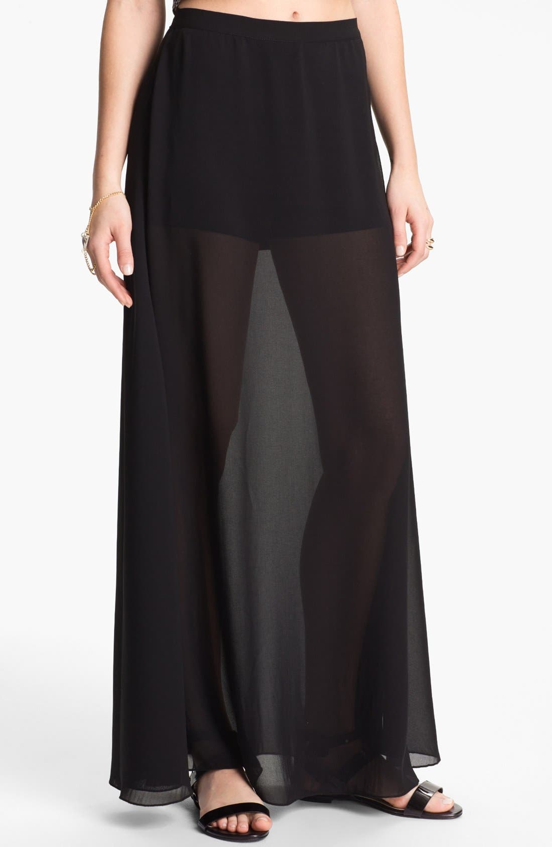 Alternate Image 1 Selected - Mimi Chica Sheer Chiffon Maxi Skirt (Juniors)