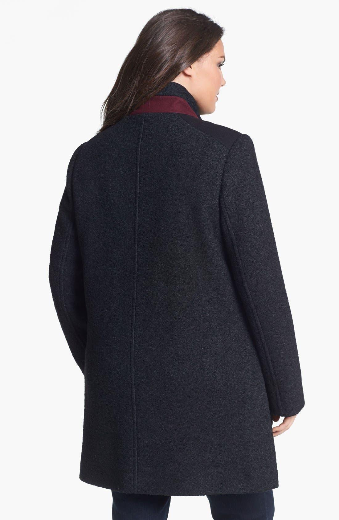 Alternate Image 2  - DKNY Asymmetrical Mixed Media Coat (Plus Size) (Online Only)