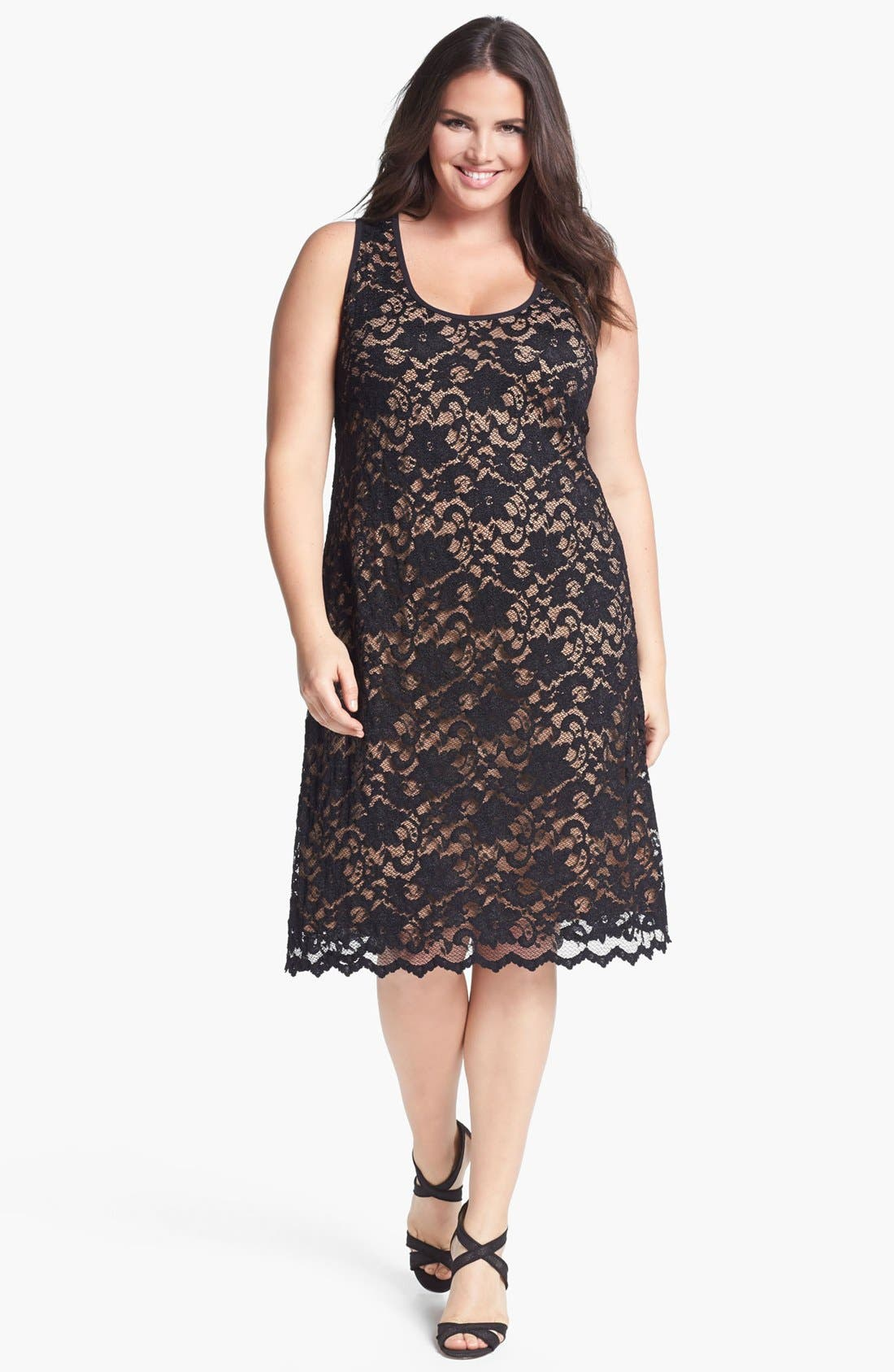 Main Image - Karen Kane Lace Tank Dress (Plus Size)