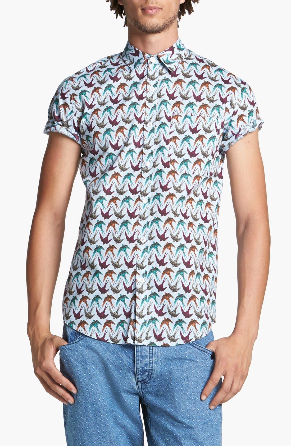 Alternate Image 1 Selected - Topman Swallow Print Shirt