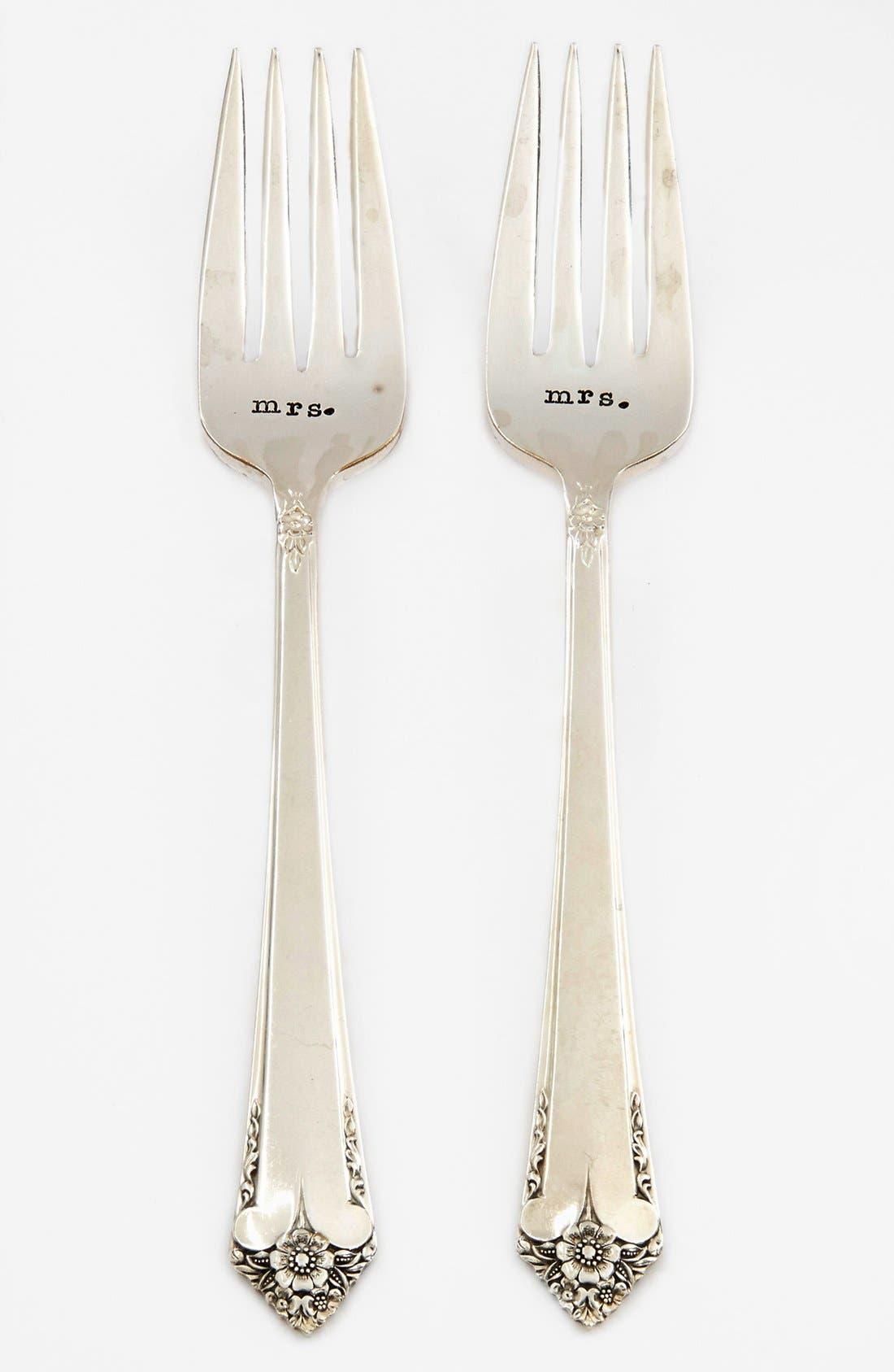 Main Image - Milk and Honey Luxuries 'Mrs. & Mrs.' Vintage Wedding Forks (Set of 2)