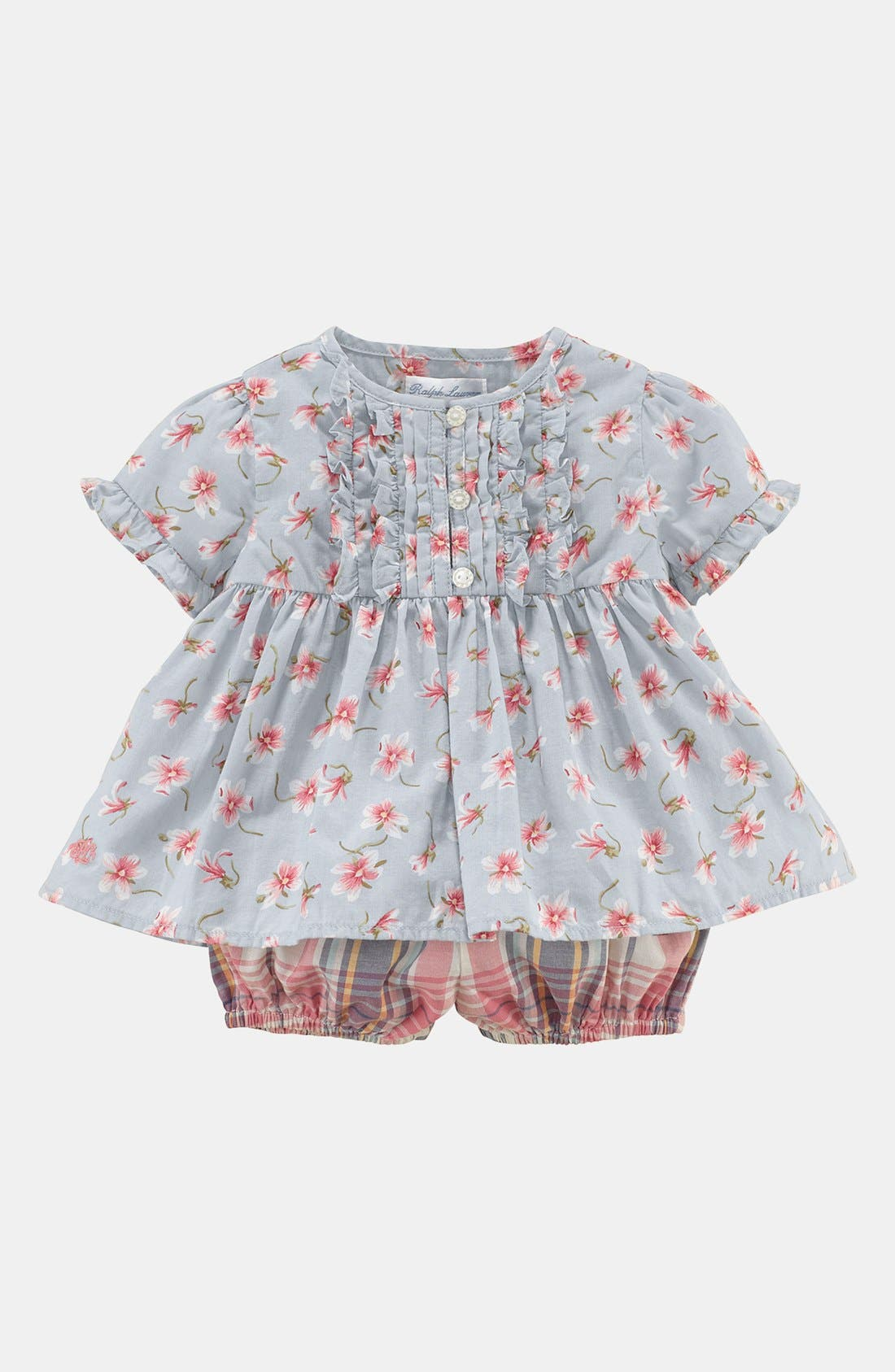 Alternate Image 1 Selected - Ralph Lauren Top & Bloomers (Baby Girls)