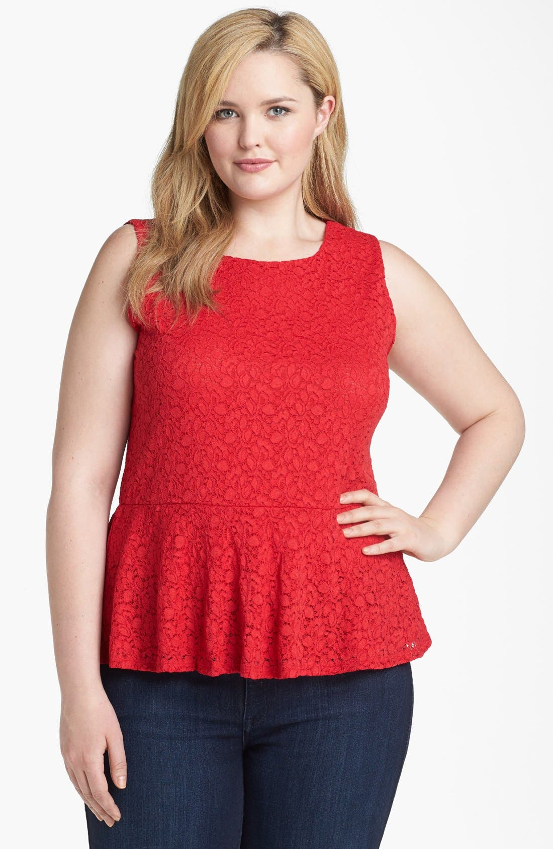 Alternate Image 1 Selected - Vince Camuto Lace Peplum Top (Plus Size)