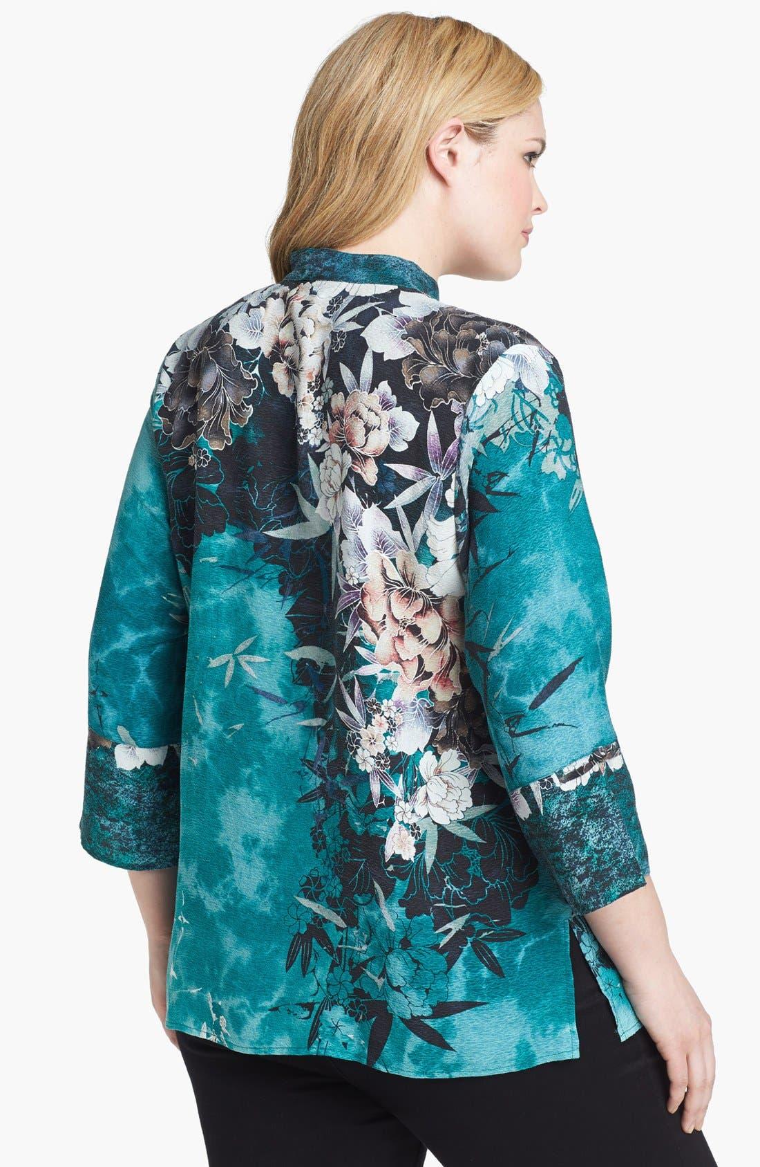 Alternate Image 2  - Citron Print Silk Tunic (Plus Size)