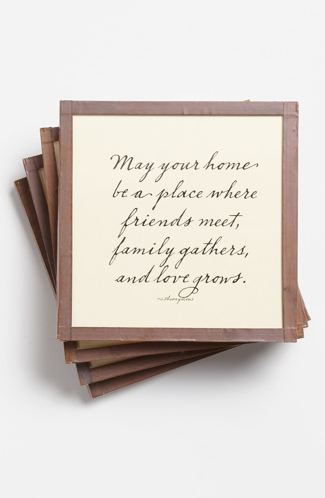 'May Your Home be a Place' Coaster Set,                         Main,                         color, Ivory