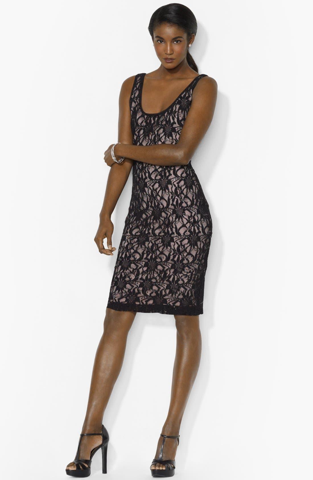 Main Image - Lauren Ralph Lauren Embellished Lace Tank Dress