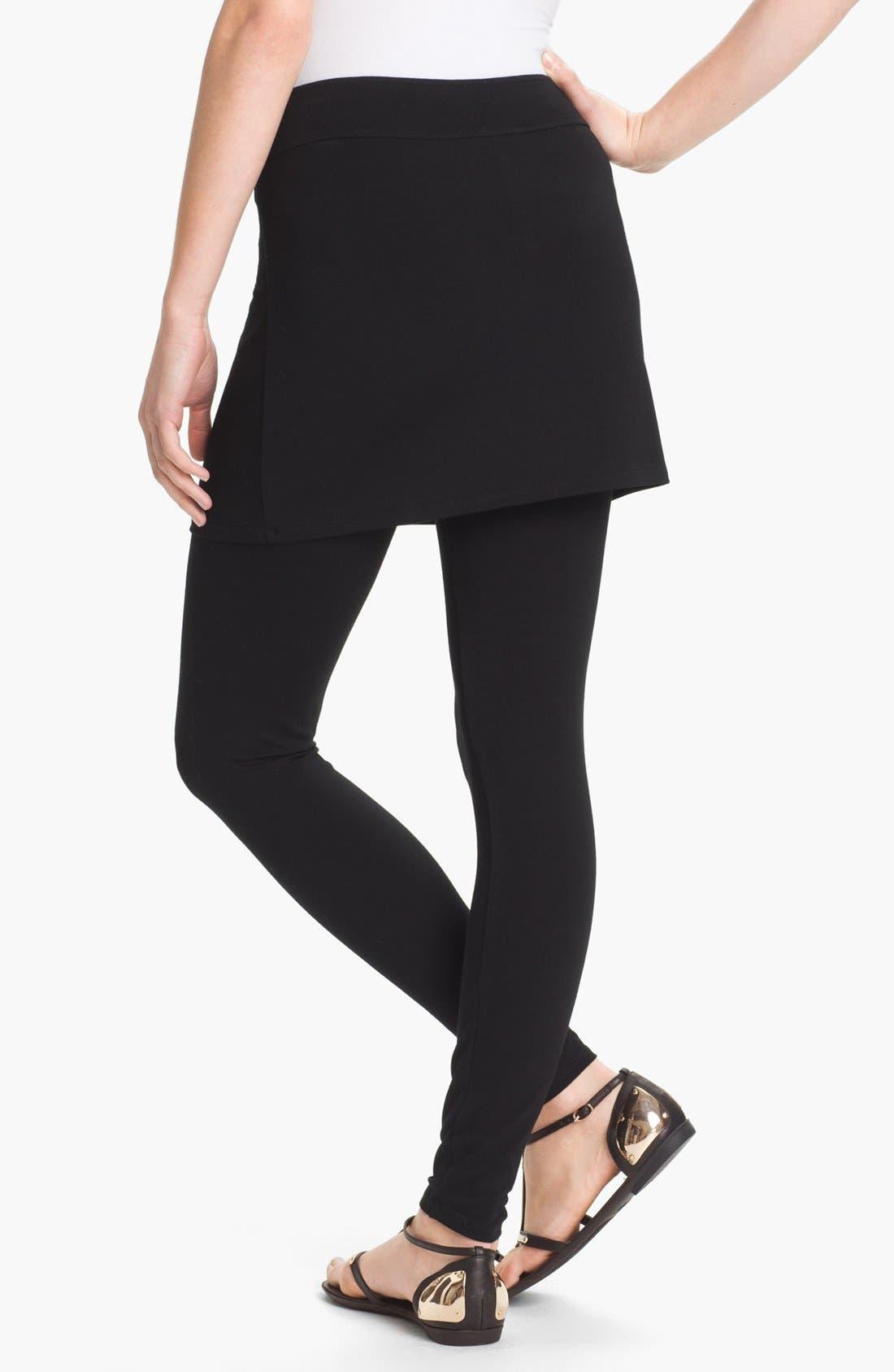 Skirted Ankle Leggings,                             Alternate thumbnail 2, color,                             Black