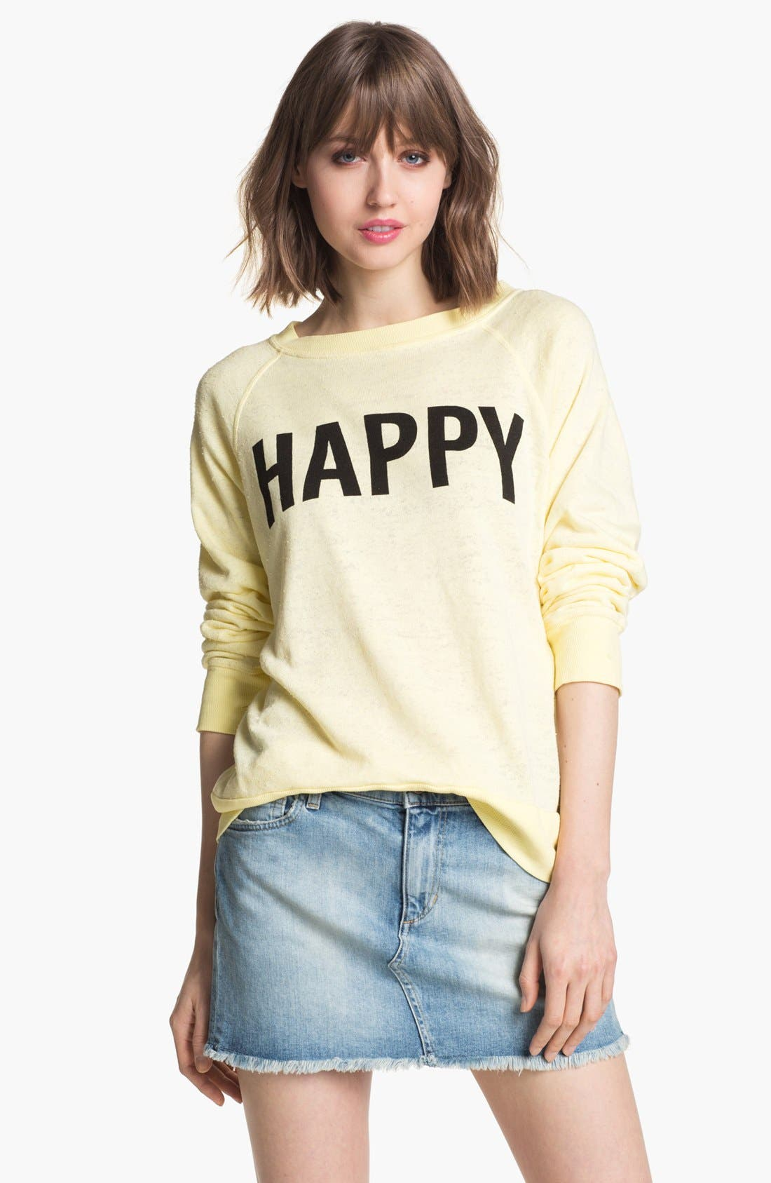 Main Image - Wildfox 'Life Is Good' Boatneck Sweatshirt