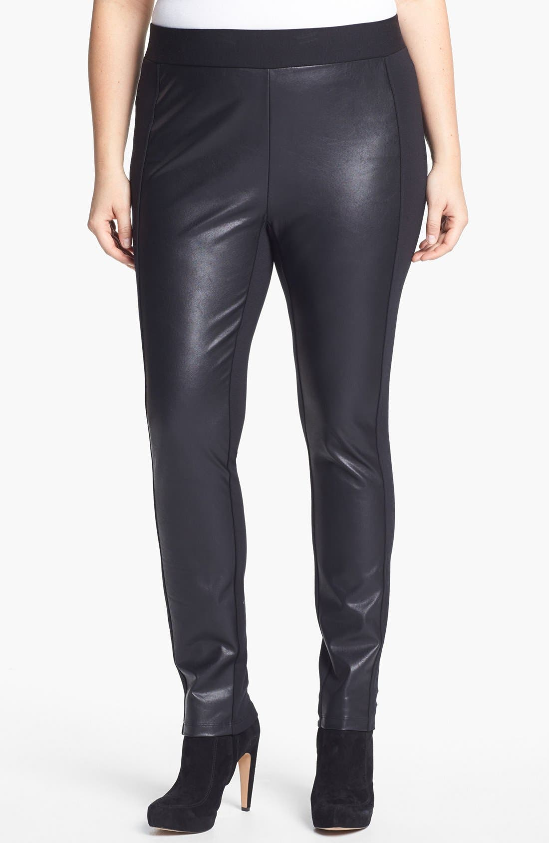 Alternate Image 1 Selected - NYDJ Faux Leather & Ponte Knit Pants (Plus Size)