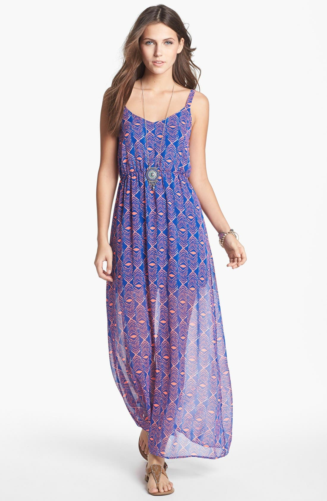 Alternate Image 1 Selected - dee elle Strappy Print Maxi Dress (Juniors)
