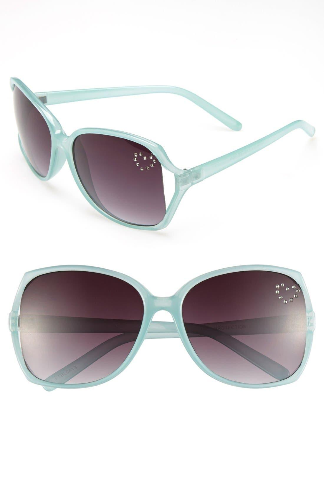Alternate Image 1 Selected - Fantas Eyes Heart Crystals Sunglasses (Girls)