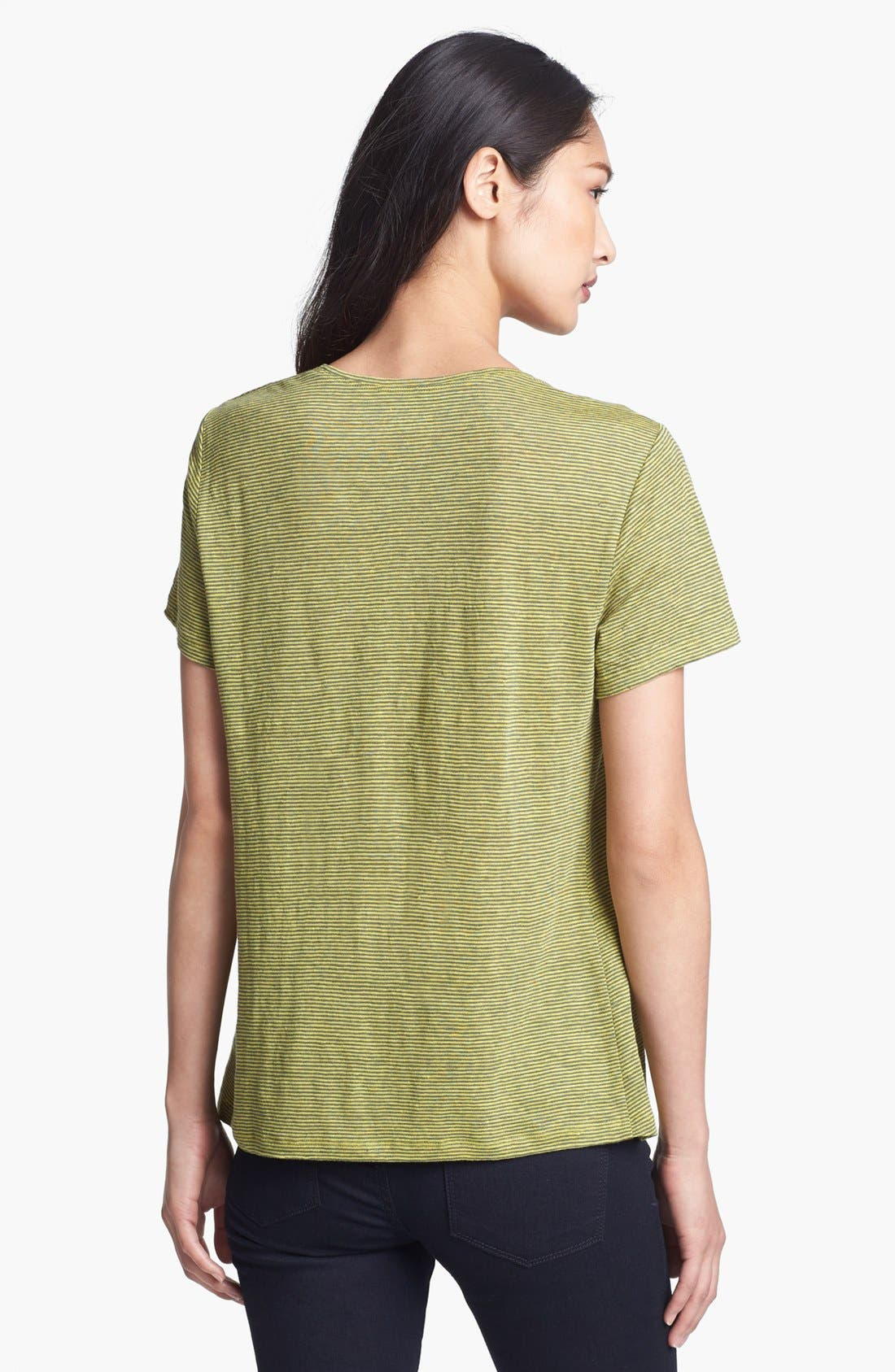 U-Neck Stripe Tee,                             Alternate thumbnail 2, color,                             Lime
