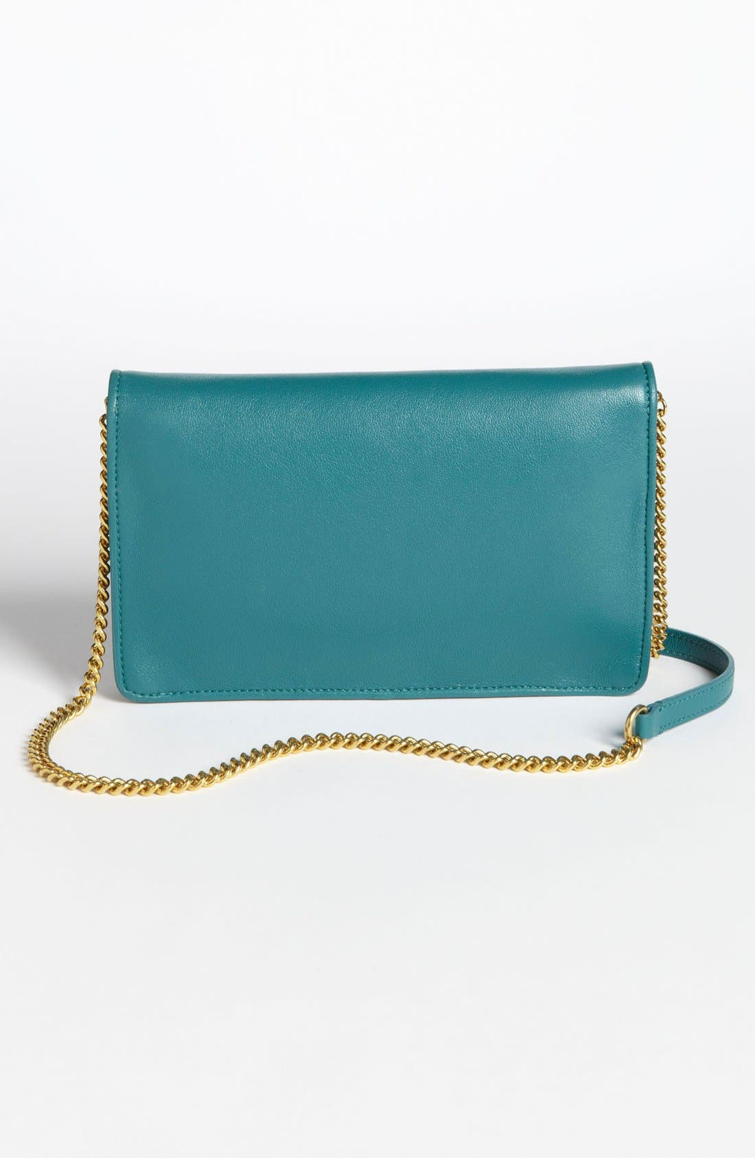 Leather Clutch,                             Alternate thumbnail 4, color,                             Peacock