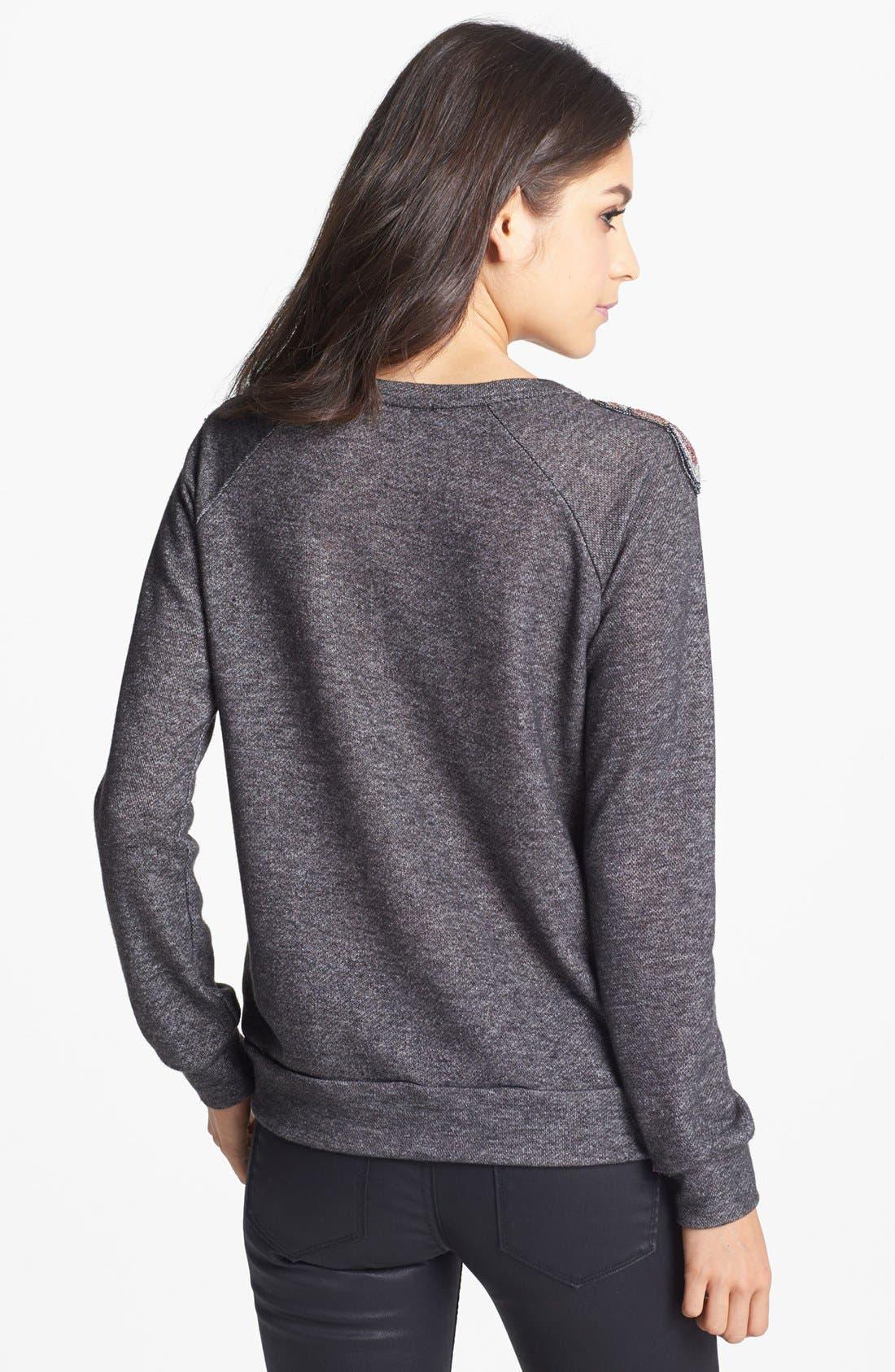 Alternate Image 2  - Chloe K Beaded Shoulder Sweatshirt (Juniors)