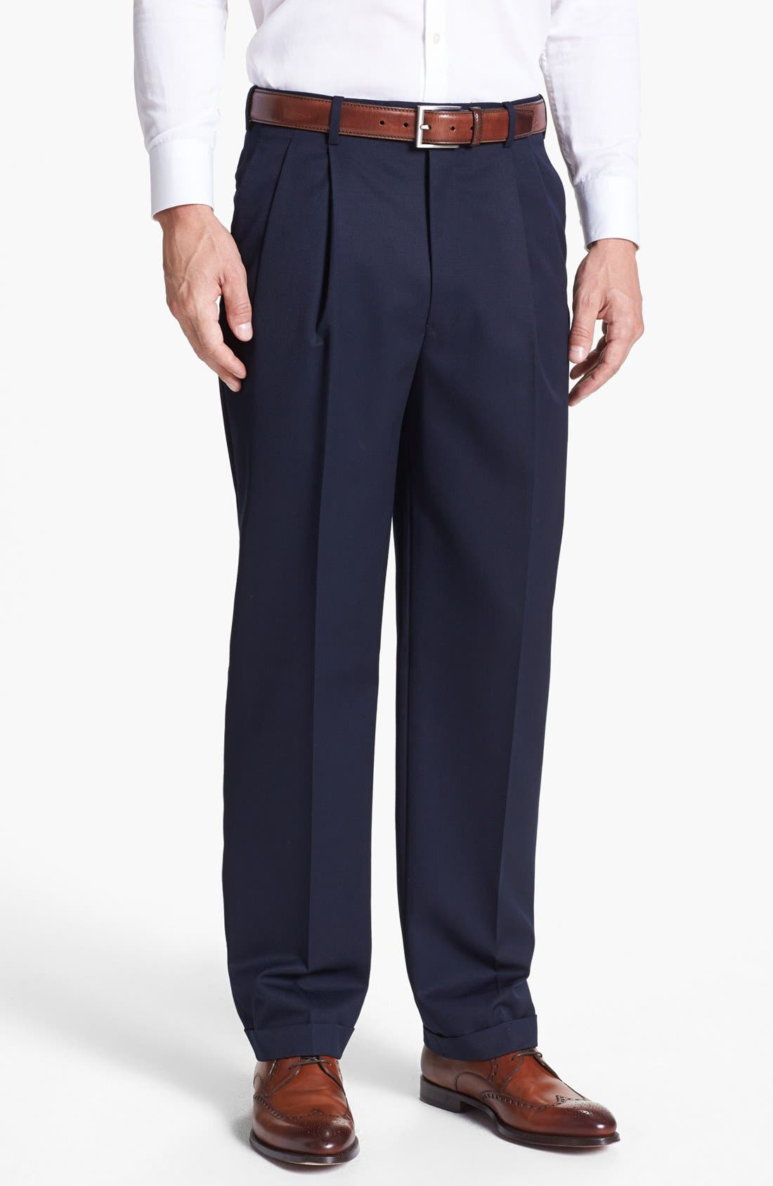 Pleated Super 100s Worsted Wool Trousers,                         Main,                         color, Navy