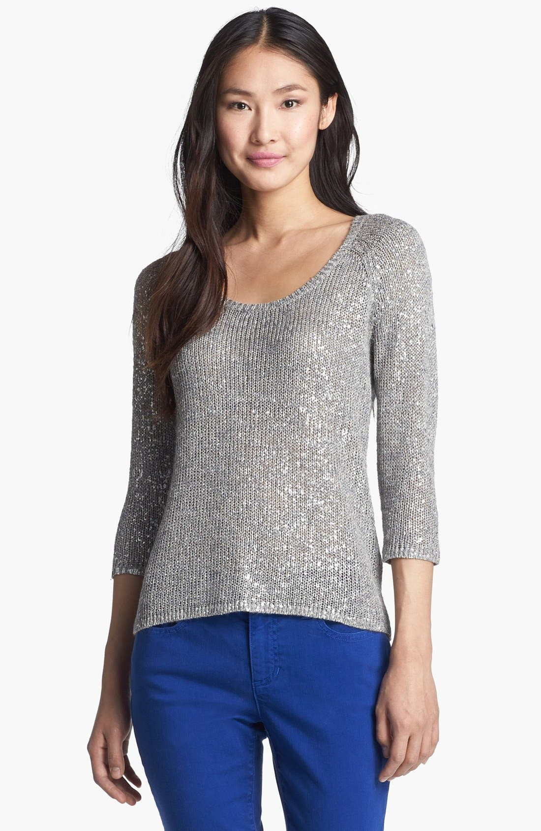Alternate Image 1 Selected - Eileen Fisher Scoop Neck Shimmer Sweater